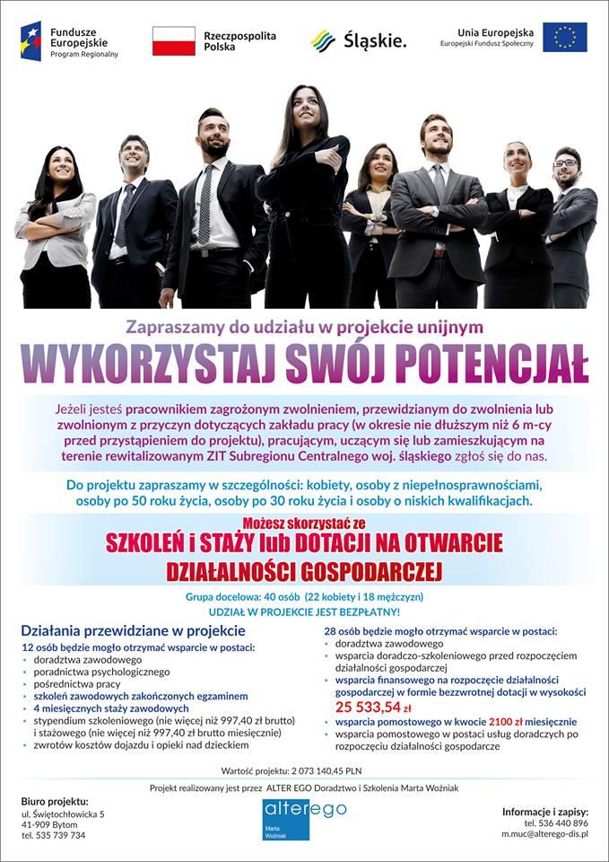 """""""WYKORZYSTAJ SWÓJ POTENCJAŁ"""" - projekt unijny 1"""