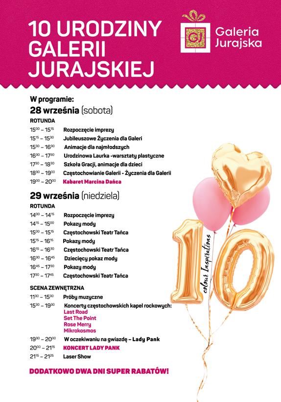 Galeria Jurajska świętuje 10. urodziny. Gwiazdami Marcin Daniec i Lady Pank. 1