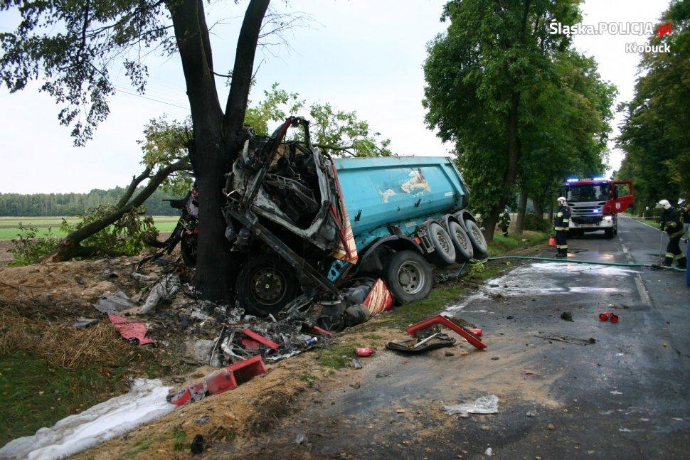 Ciężarówka uderzyła w drzewo 1
