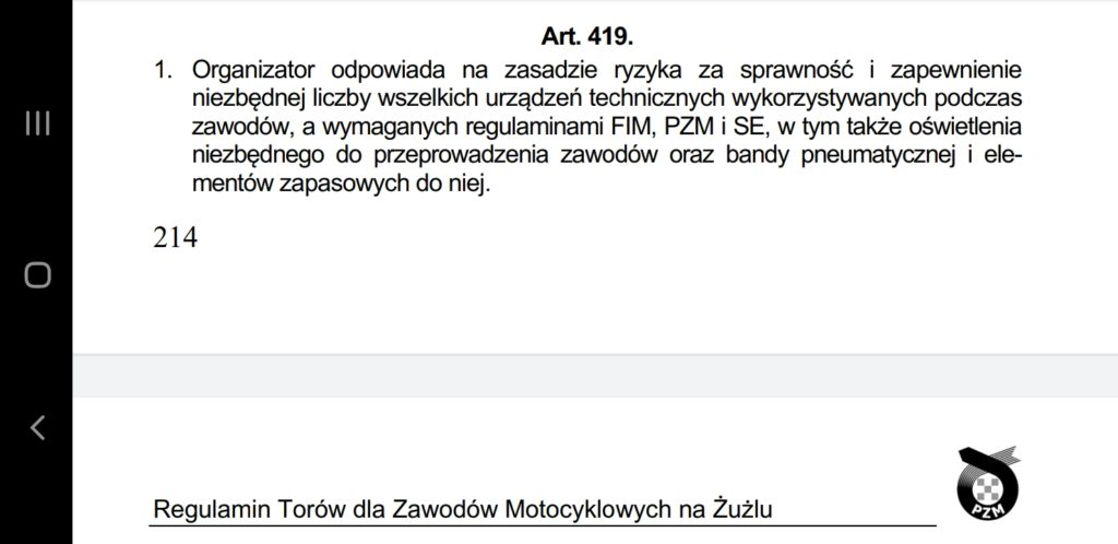 Co dalej z meczem Stal Gorzów – Eltrox Włókniarz? Art. 419 Regulaminu Torów dla Zawodów Motocyklowych na Żużlu mówi jasno... 1