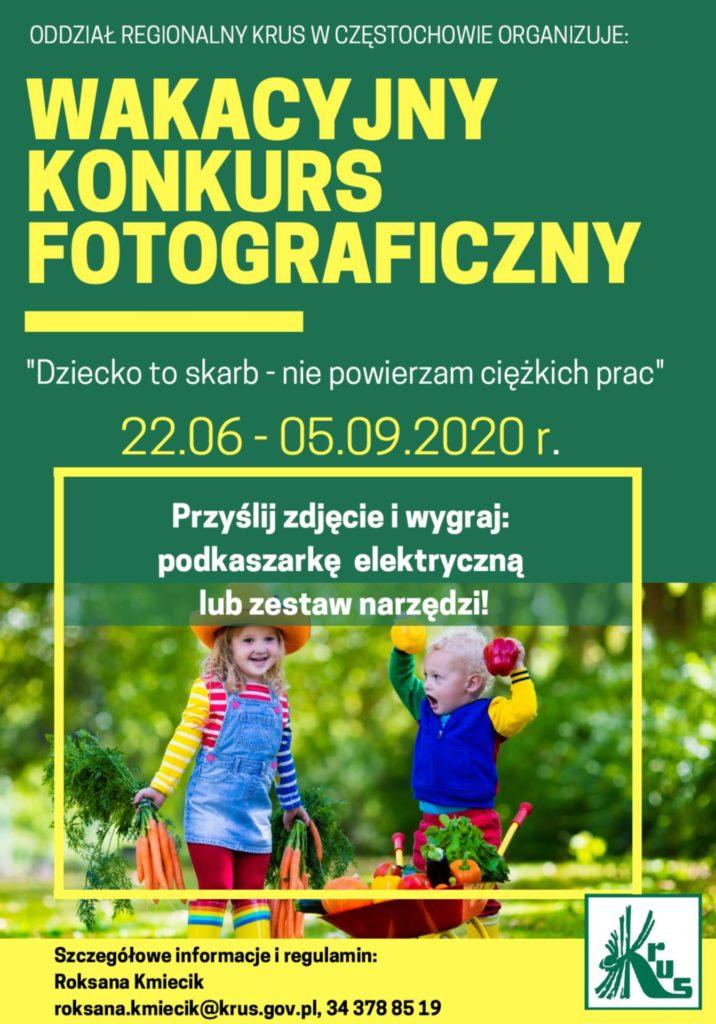"""KRUS zaprasza na wakacyjny konkurs fotograficzny """"Dziecko to skarb – nie powierzam ciężkich prac"""" 1"""