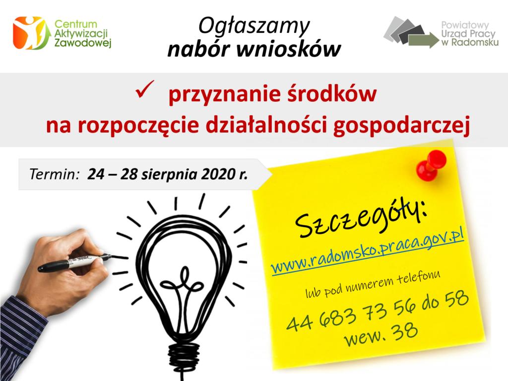 PUP w Radomsku ogłasza nabór wniosków o przyznanie jednorazowych środków na podjęcie działalności gospodarczej 1