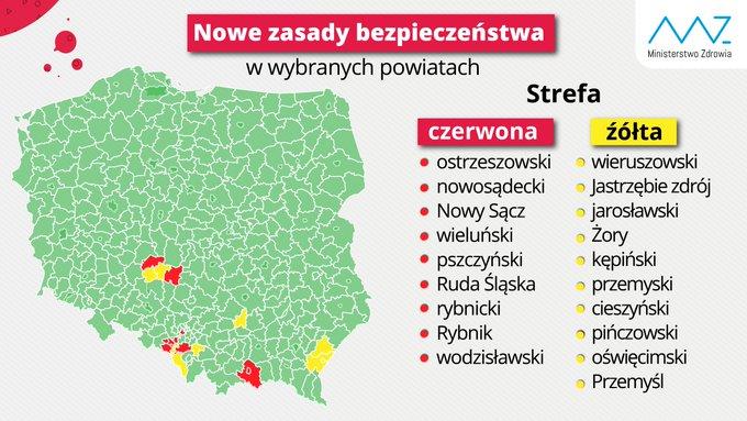 Ministerstwo Zdrowia wprowadziło obostrzenia w powiatach, w których wzrosła liczba zakażeń COVID-19 1