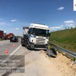 Kolizja dwóch ciężarówek na A1, miejscowość Starcza. 1