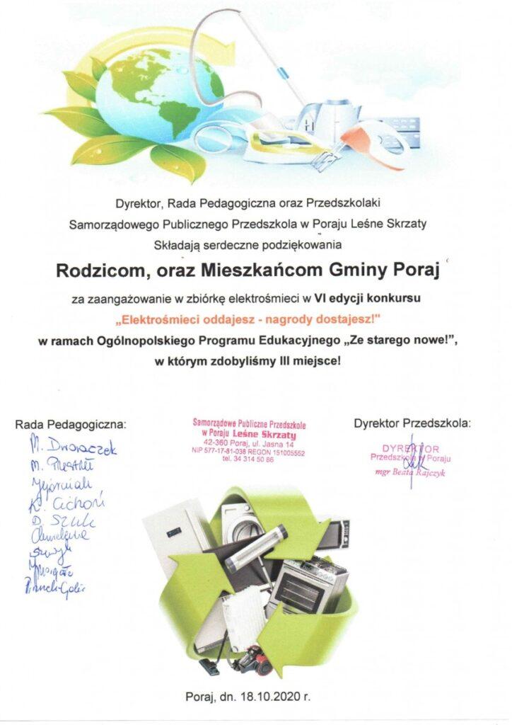 """Leśne Skrzaty z Poraja z trzecim miejscem w konkursie """"Elektrośmieci oddajesz - nagrody dostajesz!"""" 2"""