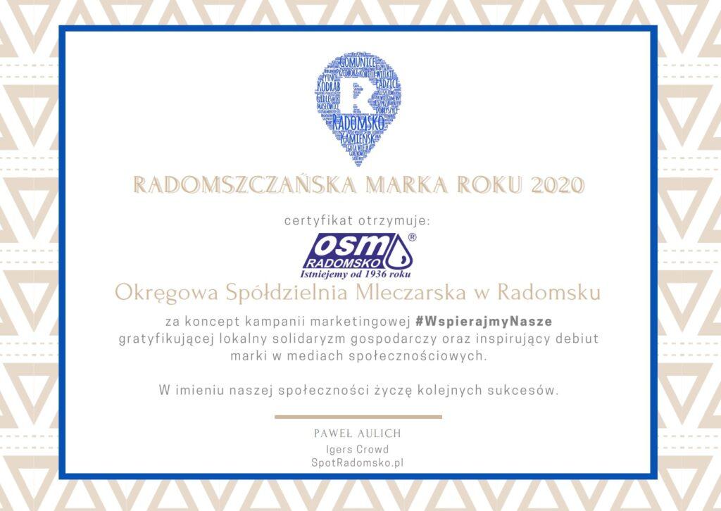 Okręgowa Spółdzielnia Mleczarska Radomsko z tytułem Radomszczańskiej Marki Roku 2020 1