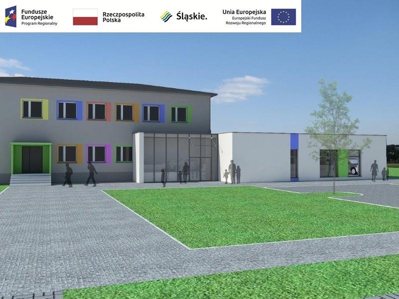 Postęp prac przy budowie pawilonu przedszkolnego w Turowie 1