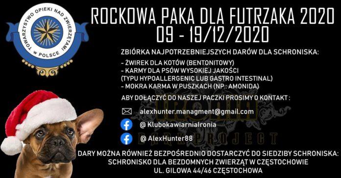 """""""Rockowa paka dla futrzaka 2020"""" w Częstochowie. Zbierane są dary dla schroniska 2"""