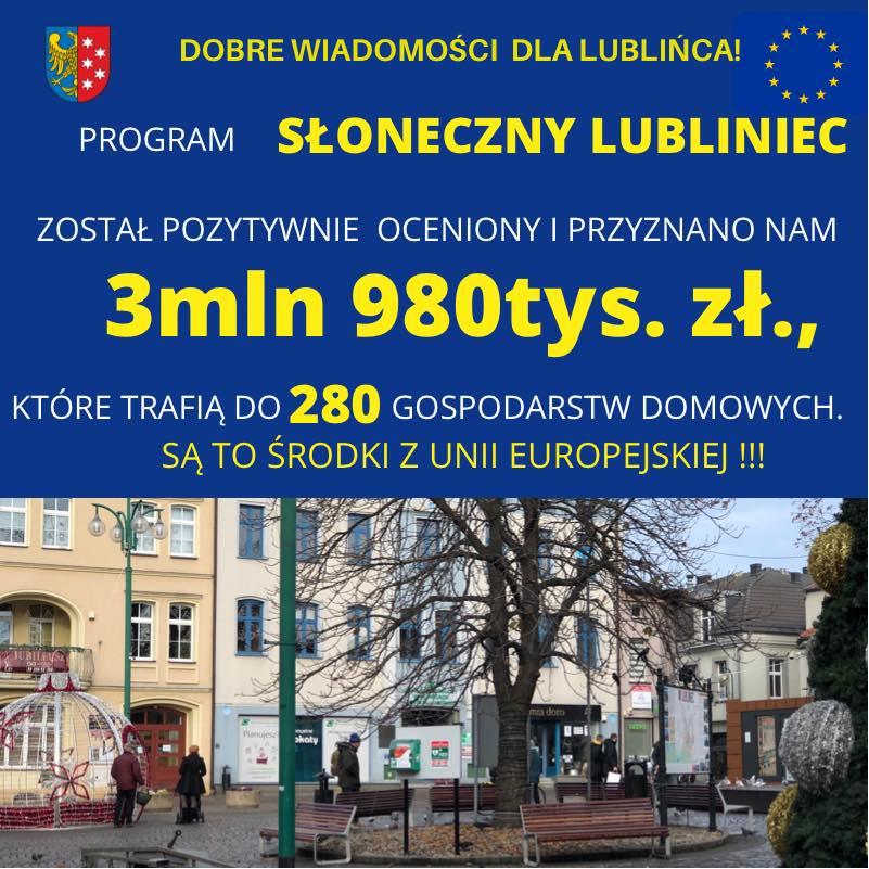 Prawie 4 mln zł dofinansowania dla Lublińca 1