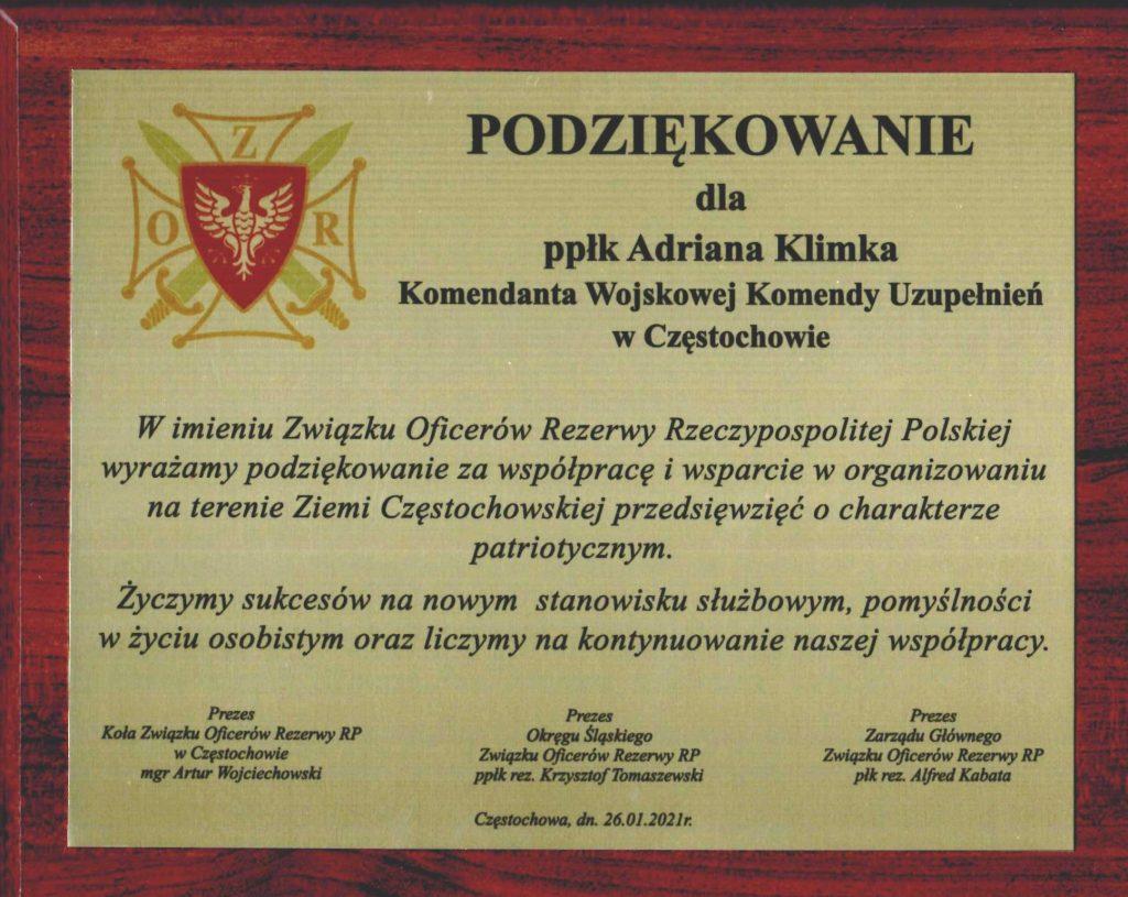 Komendant WKU w Częstochowie awansowany. Przedstawiciele miasta podziękowali mu za współpracę 1