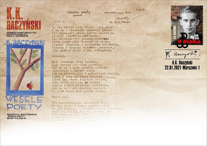 Poczta Polska wypuściła znaczek upamiętniający Krzysztofa Kamila Baczyńskiego. Wprowadzono go do obiegu dzisiaj, w 100. rocznicę urodzin poety 1