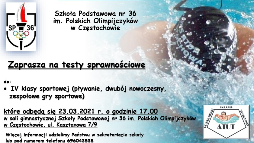 Szkoła Podstawowa nr 36 im. Polskich Olimpijczyków zaprasza na testy sprawnościowe 1