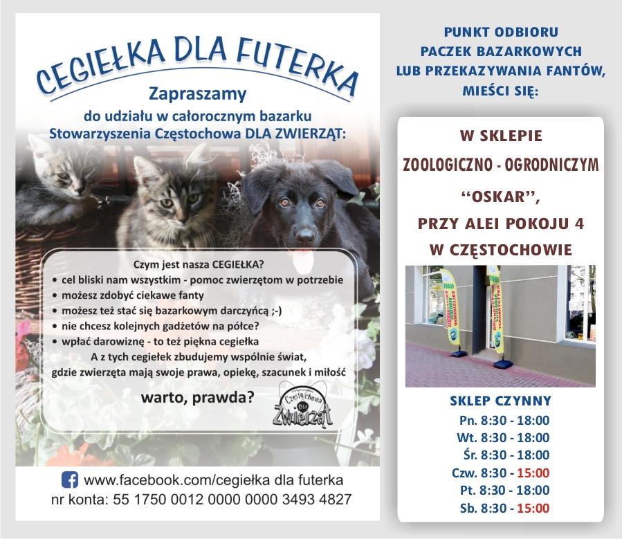 """Stowarzyszenie Częstochowa dla Zwierząt ruszyło z akcją """"Cegiełka dla futerka"""" 1"""