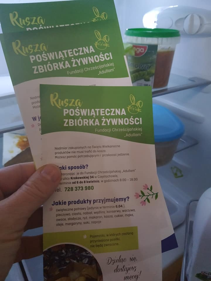 """W Częstochowie ruszyła """"Poświąteczna zbiórka żywności"""". Do pomocy namawia Fundacja Chrześcijańska """"Adullam"""" 1"""