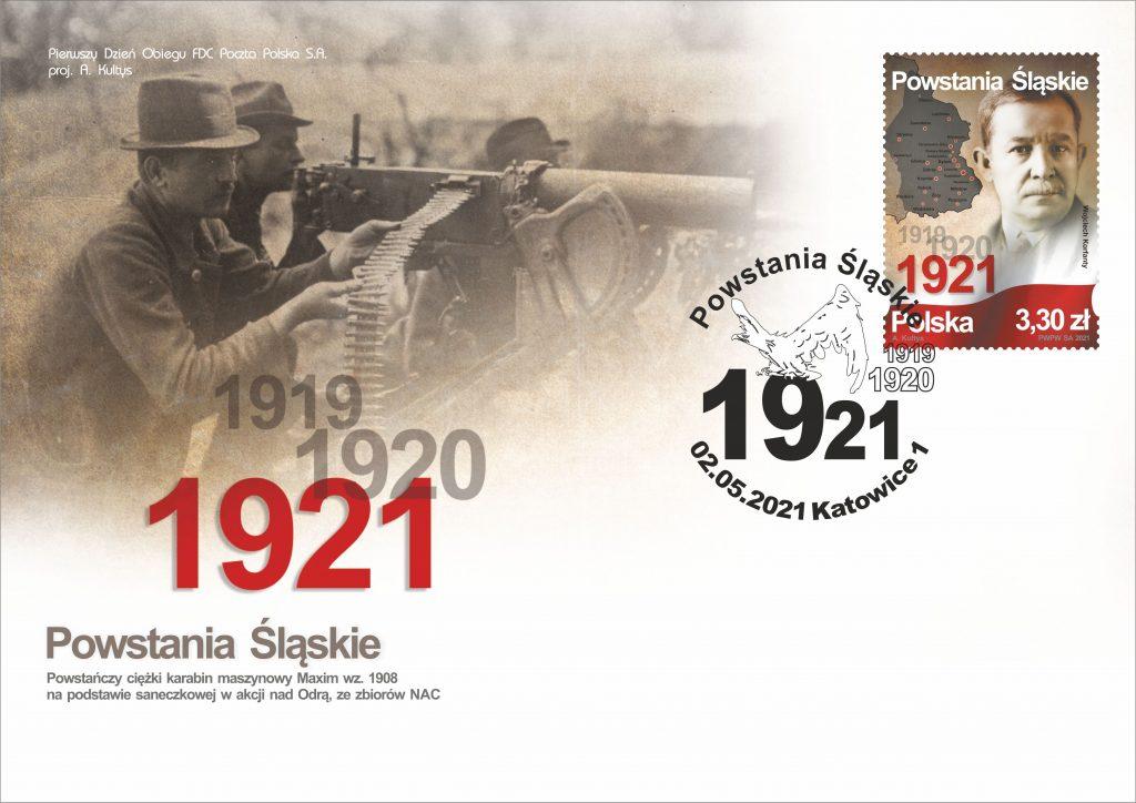 Poczta Polska wypuściła kolejny znaczek upamiętniający Powstania Śląskie. Jego oficjalna emisja ma miejsce dzisiaj, w 100. rocznicę III Powstania Śląskiego 1