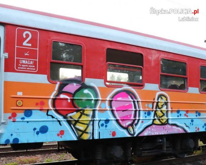 Graficiarze pomalowali wagon kolejowy. Zatrzymali ich lublinieccy policjanci 2