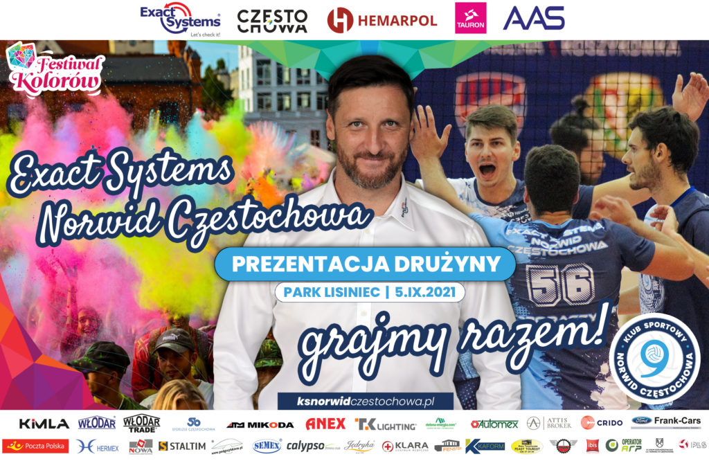 Podczas niedzielnego Festiwalu Kolorów nastąpi prezentacja 1-ligowego Exact Systems Norwida, a trener Piotr Gruszka poprowadzi wyrzut kolorów 1