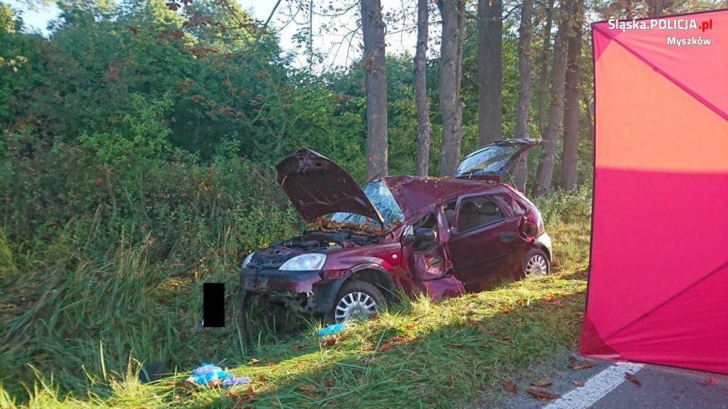 Śmiertelny wypadek w Myszkowie. Samochód uderzył w drzewo 2