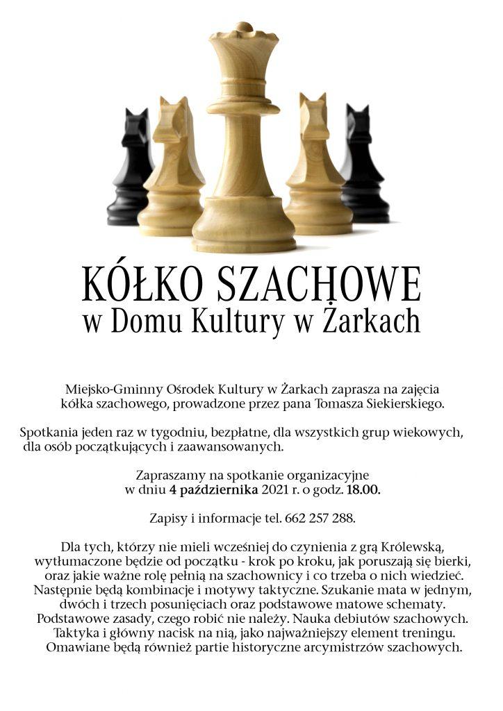 Dom Kultury w Żarkach zaprasza na zajęcia z gry w szachy 1